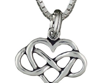 Sterling Silver Heart with Infinity Symbol Necklace Pendant Forever Love