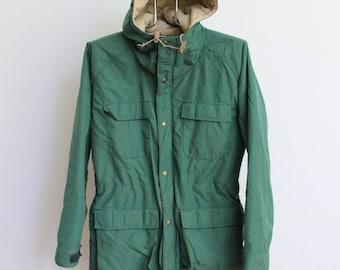 Vintage LL Bean Parka Jacket // 60 40 LLBean Baxter State Mountain Parka Green Khaki Tan // Quilted Hooded Coat
