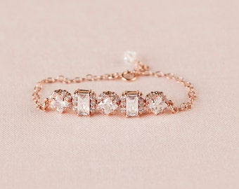 Rose Gold Bridal Bracelet, Simple Crystal Wedding Bracelet, Bangle Bridesmaid Jewelry, Wedding Jewellery, Gold, Julienne Simple Bracelet