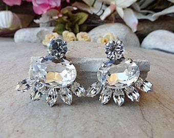 Swarovski rhinestone earrings. Silver crystal earrings. Cluster earring. Wedding party gift. Diamond like. Bridesmaid jewelry. Prom earrings