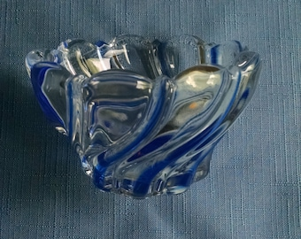 Glass Candy Dish Clear with Blue Swirls Early 1990s