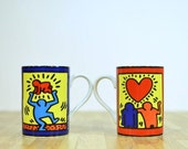 Vintage Keith Haring Mugs Konitz Germany Style No. 2 and 4 Primary Colors Pop Art