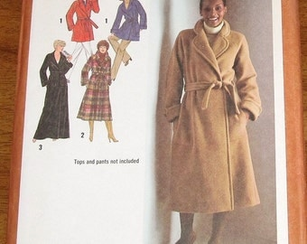 Simplicity 9183 Lined Wrap Coat in Three Lengths and Tie Belt Womens Misses Vintage 1970s Sewing Pattern Size 14 Bust 36 Uncut Factory Folds