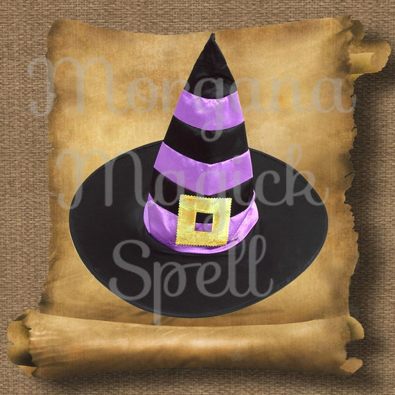 Striped Witch Hat Royalty Free Clipart