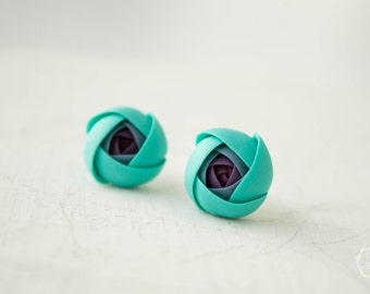 Turquoise Blue Ranunculus Stud Earrings Wholesale Flower Small Hypoallergenic Studs Women Accessory Wedding Bridal Birthday Gifts Jewelry