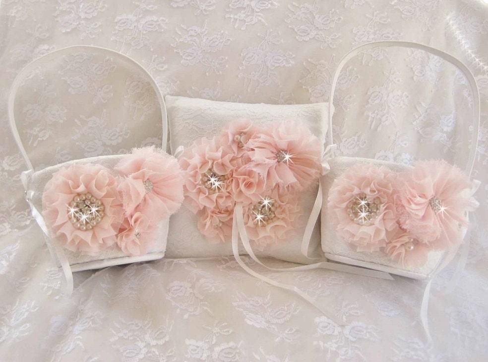 Flower Girl Basket Blush : Blush flower girl baskets two hand dyed by