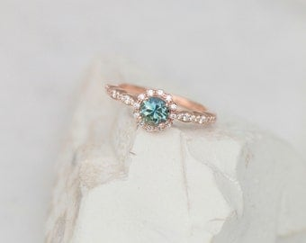 Blue Green Sapphire Rose Gold Diamond Halo Engagement Ring Vintage Style Wedding Ring