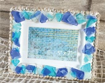 Beach Glass Photo Frame, Beach Decor, Beach Glass Picture Frame, 5 x 7 Beach Glass Frame