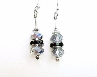 Silver AB Swarovski Crystal Earrings, Bridal Earrings, Bridal Jewelry, Silver Crystal Earrings, Handmade Sterling Silver Earrings