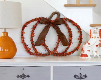 Fall Door Wreath - Pumpkin Wreath - Halloween Wreath - Berry Pumpkin Wreath