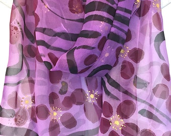 Hand Painted Silk Shawl, Japanese Black and Purple Scarf, Gold, Purple and Black Plum Blossoms Scarf, Silk Chiffon Shawl, 22x90 inches.