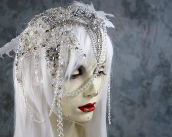 Order by 10/25 for Halloween delivery: Crystal Fairy  White Full Wig, Crystal  w Feather Headpiece Costume Renaissance Wedding Gypsy