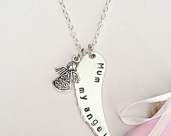 Angel Wing Necklace - Mum Necklace - My Angel - Memorial Necklace - Angel Jewelry - Hand Stamped - Loss Of Mum