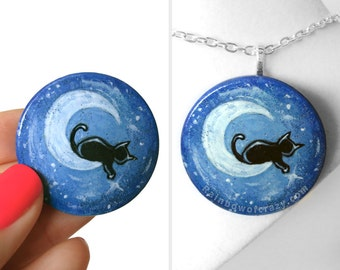 Black Cat Necklace, Crescent Moon, Starry Night Sky, Blue Pendant, Pet Memorial Art, Cat Lover Gift for Her, Hand Painted Wood Jewelry