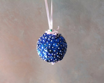 Blue Beaded Holiday Ornament with Pink Ribbon