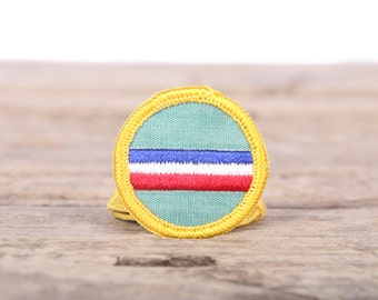 """Vintage Girl Scout Patch / 1970's Scout Patch My Country / 1.5"""" Girl Scouts Patch / Vintage Patches / Grunge Yellow Scout Patch"""