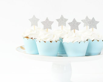 Star Cupcake Toppers Silver Glitter Twinkle Little Star Party Boys 1st Birthday Cupcake Toppers Glitter Party Supplies  New Years Eve Party