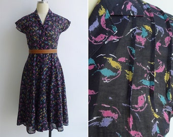 Vintage 80's 'Art Canvas' Abstract Print Black Cotton Voile Dress XS or S