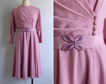 Vintage 80's Does 40's Pink Draped Dress with Belt S or M