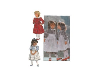 Girls Easy to Sew Girls Dress and Pinafore by Eileen West Butterick 4404 Childrens Sizes 4-5-6 Vintage 1980s Sewing Pattern
