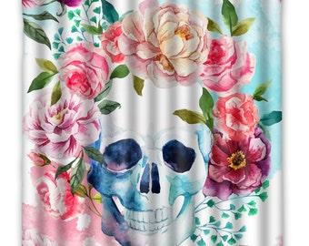 Watercolor Flower Skull Shower Curtain - Skull Anatomy - Skull Shower Curtain - Anatomy - Floral Skull - Steampunk Skull Bath Decor