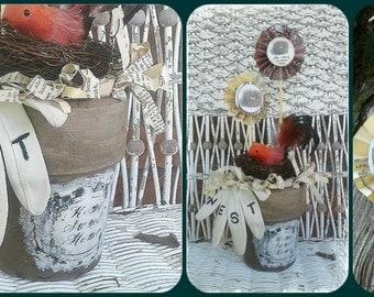 Altered, Repurposed Terra Cotta Pot, Home Sweet Home Bird Nest Vase , Vintage Glove, Paper Flowers