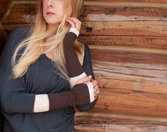 Fingerless Gloves, Long Lace Arm Warmers, Lace Gloves Long Gloves Teacher Gift Ideas Womens Gift for Her Brown Wrist Warmers Tattoo Cover Up