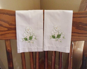 Set of Two White Flower Applique Hand Towels, Handmade Towels with Embroidered Flowers
