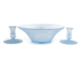 Vintage Blue Cut Glass Console Set Ribbed Bowl Matching Candlesticks Frosted Bowl floral Etching Centerpiece Aqua Blue