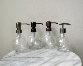 """Clear 9oz Round Glass Soap Dispenser with Stainless Steel Metal Pump - 3.5"""" W x 6"""" H"""