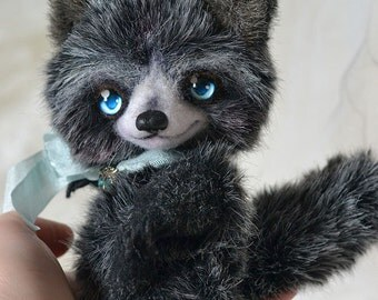OOAK Artist Raccoon Franky grey white black by Lollipopbears