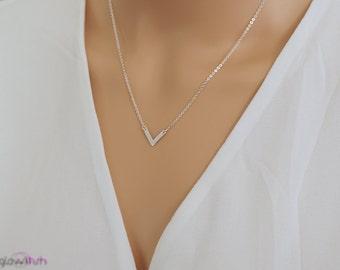 Chevron necklace - layering necklace - simple v necklace - simple jewelry - layered necklace