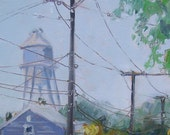 ORIGINAL oil landscape painting. Plein Air Small Impressionist art. Small Town. Water Tower. Affordable wall decor. OOAK home decoration.