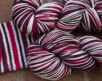Self Striping Sock Yarn, Hand Dyed in Queen of Hearts Colorway