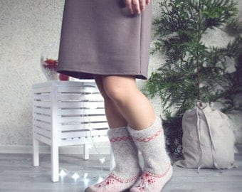 Felted wool shoes with red decoration - winter shoes - wool boots - felt boots - women shoes