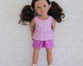 "Summer Purple Snail Peplum Top Purple Shorts - Dolls clothes for 20"" Australian Girl doll"