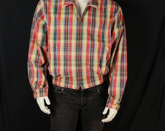 Polo Ralph Lauren jacket Men's lightweight plaid jacket Front zipper cotton bomber jacket 90s mens vintage clothing Zip up preppy jacket L
