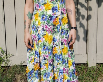 ABSTRACT PRINT DRESS // Vintage 90's The Limited Criss Cross Straps Size 4 Sun Dress Flower Floral Print Colorful