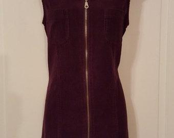 90's EGGPLANT CORDUROY JUMPER Dress // Purple Pocket Zipper Dress Grunge Preppy 1990s Vintage Size M Fall Winter Chazzz Credentials