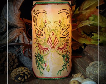 Autumn Woodland Spirit Mask Embroidered Candle Wrap For LED Flameless Pillar Candles.