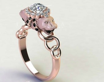 Rose Color Double Headed Panther Diamond Engagement Ring with Diamond Halo 14K Gold Black Diamonds