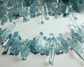 Aquamarine Blue Quartz Tumbled Titanium Point Nugget Dagger Beads 15mm - 33mm