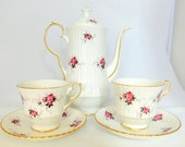 Hammersley, Spode Princess House Tea Pot Coffee Pot with Two Matching Tea Cups and Saucers, Made in England