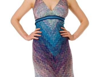 1990s Missoni Knit Crochet blue Purple Mini dress SIZE: S, 2