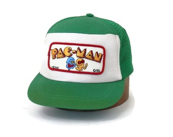 Vintage Pac Man Trucker Cap Kelly Green Mesh w/Embroidered Patch by Midway 1991