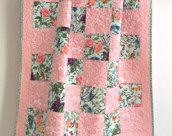 Adorable Baby Girl Quilt with Floral Roses Birds Pink Aqua
