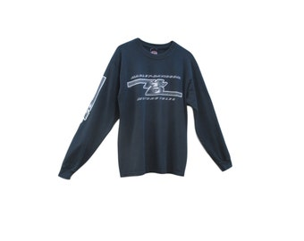 Harley Davidson Long Sleeve / Black / 1990s / Virginia City Nevada  / Sleeve Design / Men's Medium