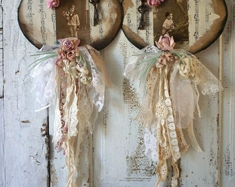 Paper heart wall hanging set ephemera French antique farmhouse postcards tattered old ribbon millinery flowers home decor anita spero design