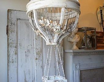 Hanging hot air balloon birdcage home decor wood wire cream large ornate shabby cottage chic rust cream wedding bird cage anita spero design