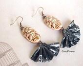 Flamenco Fan earrings - Bohemian jewelry - Whimsical Spanish Antique pink Black - Gift for dancer